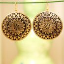 Handmade Artificial Earrings - Golden And Black Color