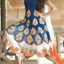 Attractive Design Blue & White Georgette Embroidered Anarkali Suit