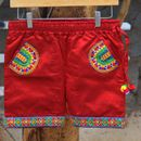 Red Colored Mashru Silk Embroidered Worked Short