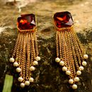 Handmade Brownish Maroon Colored Stone & Golden Color Tassel Earrings With Pearls At End