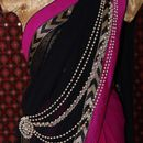 Stone & Pearl Embellished Pearl Stranded Long Saree Brooch