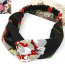 Black Base Flower Printed Satin Smooth Fabric Hairband With Elastic