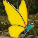 Yellow Stained Glass Butterfly Suncatcher