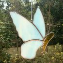 Sky Blue White Stained Glass Butterfly