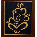 P K Ganesha Art Wall Hangings Frame (Embroidered)