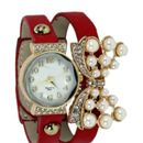 Womens watch round white dial red leather strap love dori  Stunning Exclusive Designer Watch for her