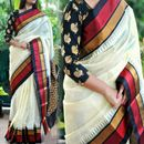 SRP Fashion Selection white  Bhagalpuri Silk Saree with Embroidered Blouse Piece