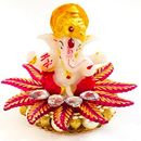 Ganesha Idol on Ornamental Base of Red Leaves and White Crystals, for Car Dashboard  Home Decor Office Showpiece