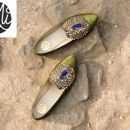 MiCHA designer custom made green peacock shoes