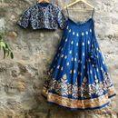 Fabdiwa Fashion Designer embroidered Blue lehenga