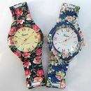 Geneva FLoral Print  Red black and navy blue Watch For Womens(combo of 2)