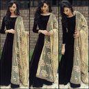Fabrica Shoppers designer black embroidered silk Anarkali suit