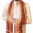 The Rajasthali Men'S Art Silk Dupatta/Stole/Chunni For Sherwani Kurta With Tassles From India (Red) 111Md01Hry0112