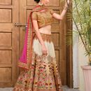 Fabdiwa Fashion new stylist CREAM  indian Designer lehenga