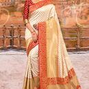 Bhelpuri Cream and Gold Kanjeevaram Silk Woven Saree with Red Blouse Piece