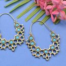 PRETTY ORNATE FLORAL ETHNIC ANTIQUE GOLD BRASS CLASSIC EARRINGS