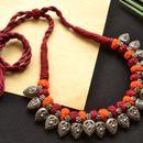 Woven chic choker neckfit orange maroon Tribal Thread Necklace (mult00069