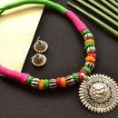 Silver Tibetan Pendant Multicolor MAroon Green Tribal Thread Necklace (mult009)