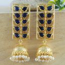 ELEGANT GOLDEN BLUE STONE WITH PEARL EARRINGS JEWELRY