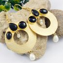 BLACK STONE WITH PEARL GOLDEN WEDDING EARRINGS JEWELRY