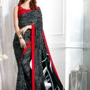 Buy Now Black & White Color Printed Crepe Silk Saree  With Silk Blouse