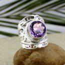 amethyst silver ring, amethyst jewellery, designer amethyst ring, big royal gift, big stone gift ring, faceted round amethyst, gift for her