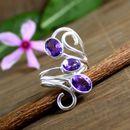 Amethyst Gemstone Ring, Three Stone ring, Wedding ring, Womens Ring, 925 Sterling Silver Ring, Handmade Designer Ring Jewelry, Ring Size 9