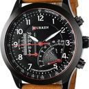 Curren Brown Leather strap watch for men
