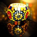 Table top Candle holder for office home Mosaic Glass design  3 x 3 Inches  ( Set of 1pc )