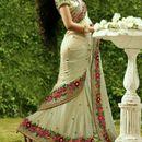 Designer Bollywood Ethnic White Saree Party Wear Sari Traditional
