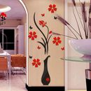 Fantaboy Red Floral and Vase Design  Wall Decal/Sticker (62cm X 42cm)
