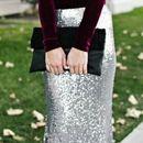 Burgundy velvet top with silver sequined maxi skirt dress