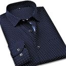 Mens Nevy Blue Dotted Casual Shirt (Pack of 1)