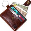 Slim Front Pocket Minimalist Genuine Leather Wallet Card Holder with Key Ring (CH2000BN)
