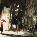 woman under umbrella canvas painting reprint