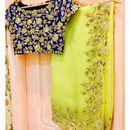 Lemon Yellow Embroidery Border Saree With un-stitch blouse