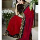 Partywear red georgette sequence embroidery border saree