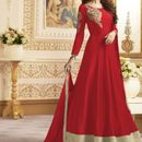 Red Cotton Banglori Anarkali Suit