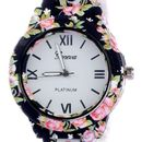 Geneva  black  floral  print watch for womens