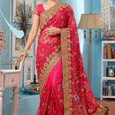 Tiana Creation Pink Soft Net Wedding Wear Saree