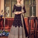 Stylee Lifestyle Wine Georgette Embroidered Dress Material 1808
