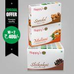 Happy's Cheenikka (Shikakai) Soap (Pay for 10 Get 12 Combo Offer)