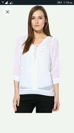 Calgari White Solid Blouse Top