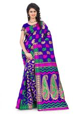 Women's Banarasi Silk Purple colour fancy heavy work  Saree