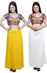 eFashionIndia Women Cotton Saree Petticoats And Inskirt  combo of 2