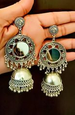Silver Oxidised High Class Luxury Hot Selling Mirror Afghani Jhunka Earrings