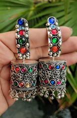 Afghani jewellery German Silver Afghani earrings studded with glass stones