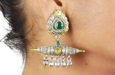 Dual tone Green faux stone brass Mughal earrings