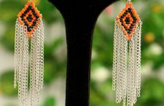 Metal And Beads Earrings - Silver, Blazing Orange And Jet Black Color