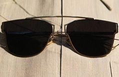Black virat sunglasses with golden frame
